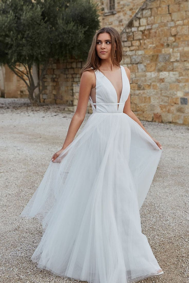 a-line-ruching-tulle-boho-bride-dress-2020-1