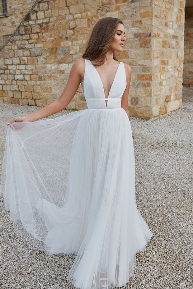 a-line-ruching-tulle-boho-bride-dress-2020