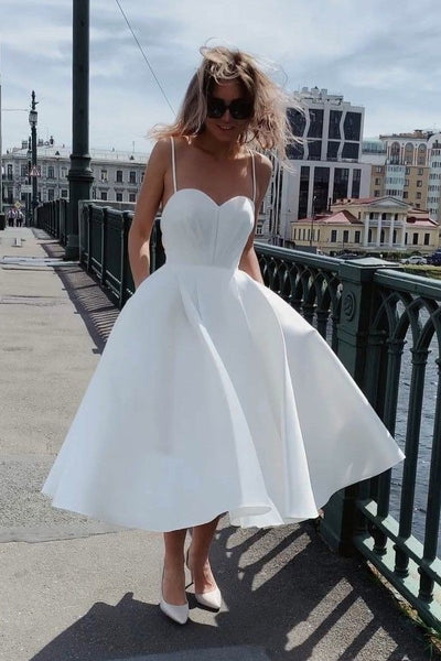 a-line-satin-white-tea-length-bridal-dresses-with-thin-straps