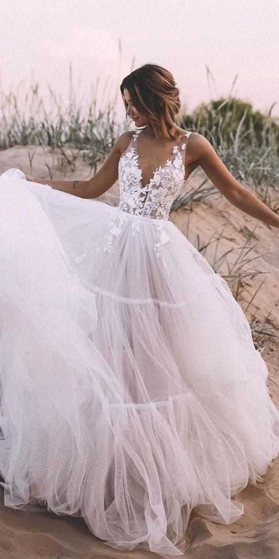 a-line-tulle-skirt-bridal-dress-with-lace-v-neckline-1