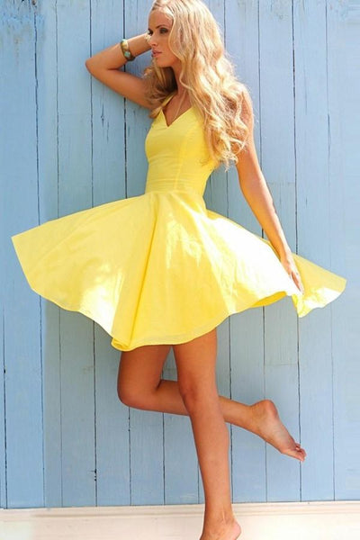 adorable-yellow-short-homecoming-dress-with-v-neckline