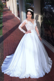 Appliqued Train Wedding Dresses with Illusion Long Sleeves