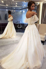 appliques-flutter-sleeves-wedding-gown-with-tulle-skirt-1