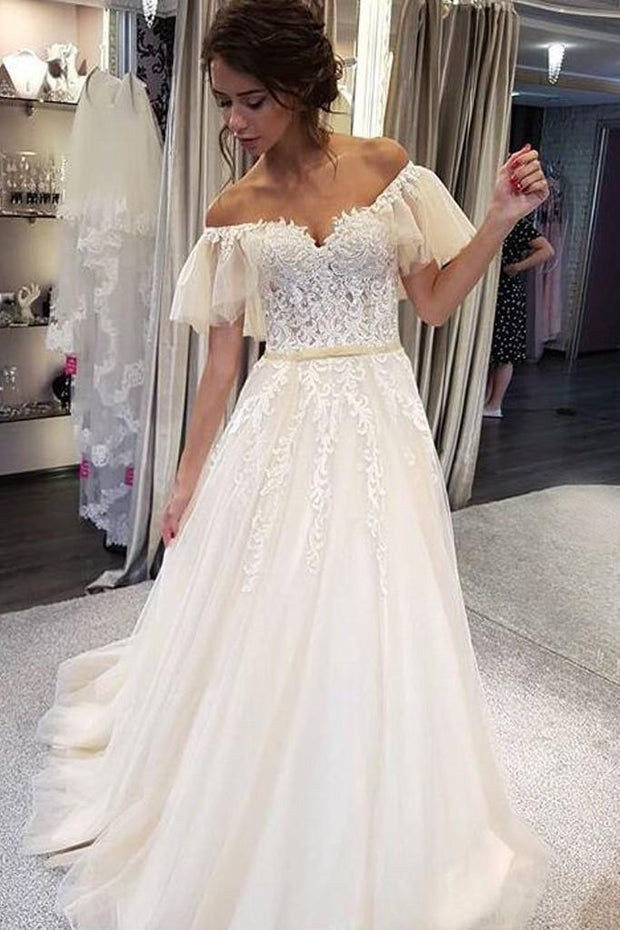 appliques-flutter-sleeves-wedding-gown-with-tulle-skirt