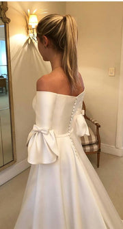 Petal Sleeve Satin Wedding Dresses Off-the-shoulder vestido de novia