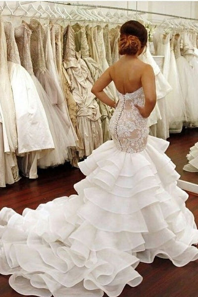 backless-lace-strapless-bridal-dresses-mermaid-ruffled-train
