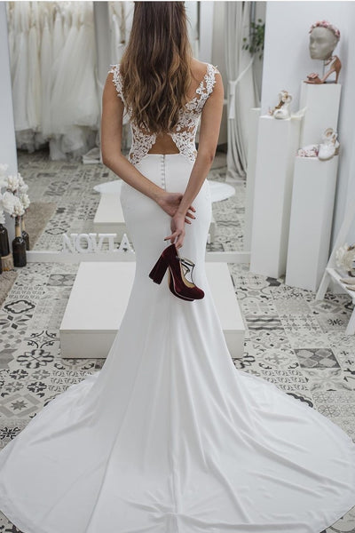 bateau-mermaid-wedding-dresses-with-lace-x-back