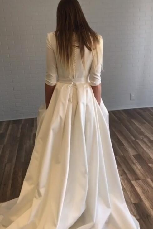 bateau-satin-half-sleeves-wedding-dresses-with-pockets-1