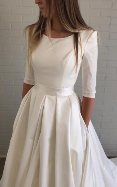 bateau-satin-half-sleeves-wedding-dresses-with-pockets-3