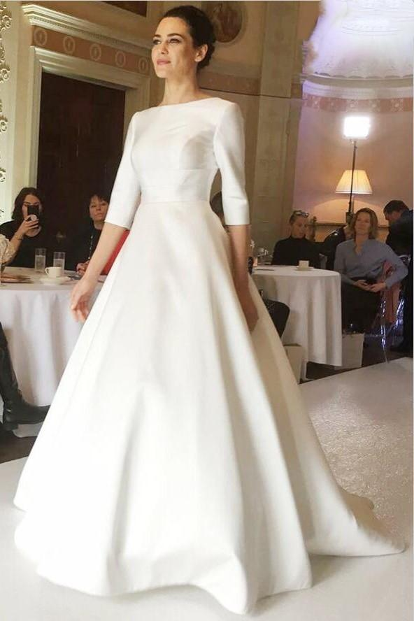 bateau-satin-modest-wedding-dress-with-sleeves