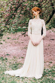 bateau-spring-wedding-dresses-with-lace-sleeves