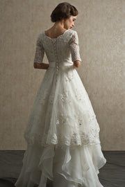 bead-lace-elbow-sleeves-wedding-dress-with-layers-organza-skirt-1