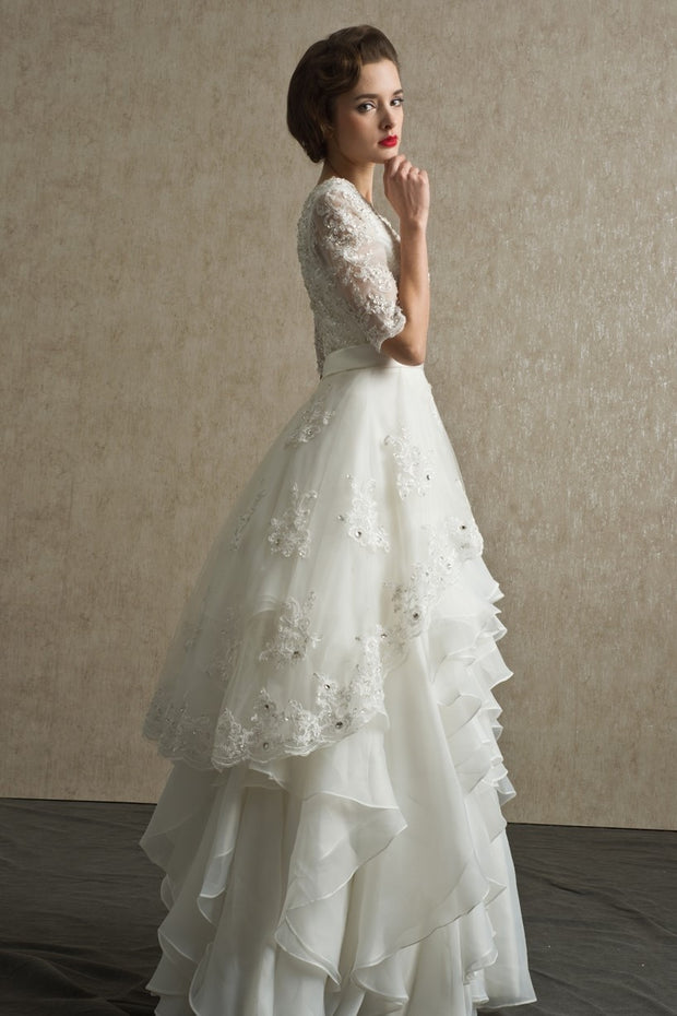 bead-lace-elbow-sleeves-wedding-dress-with-layers-organza-skirt-2
