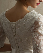 bead-lace-elbow-sleeves-wedding-dress-with-layers-organza-skirt-3