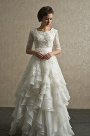 bead-lace-elbow-sleeves-wedding-dress-with-layers-organza-skirt