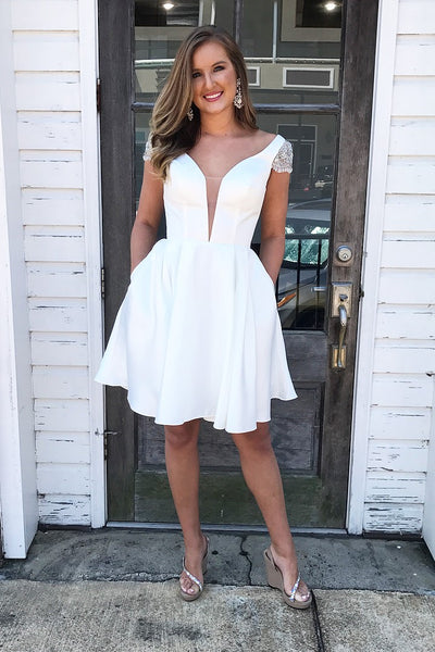 beaded-cap-sleeves-white-homecoming-gown-with-pockets