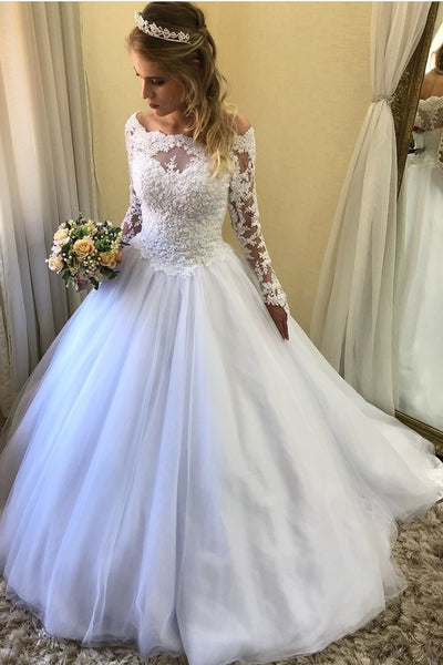 beaded-lace-long-sleeves-wedding-dress-off-the-shoulder
