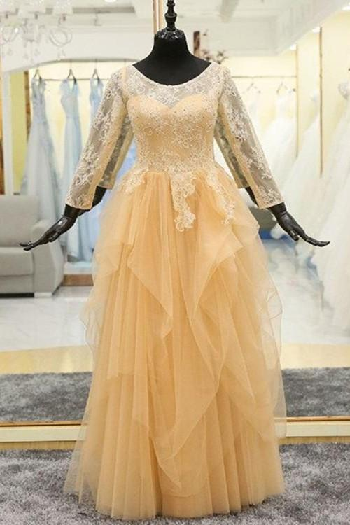 beaded-lace-modest-evening-dress-long-sleeves-tulle-skirt