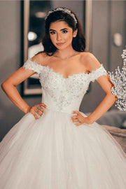 beaded-lace-off-the-shoulder-wedding-dress-with-shiny-tulle-skirt