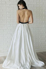 black-and-white-wedding-dresses-with-halter-neckline-1