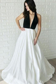 black-and-white-wedding-dresses-with-halter-neckline