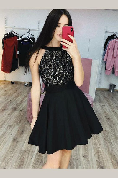 Black Lace Halter Homecoming Party Gown with Satin Skirt