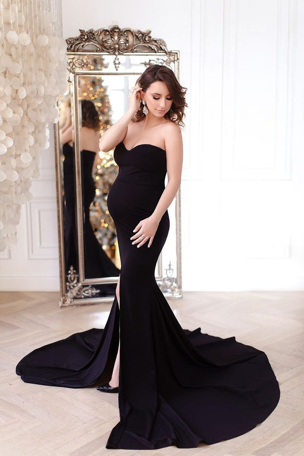 black-pregnant-woman-dresses-with-mermaid-split-train-1