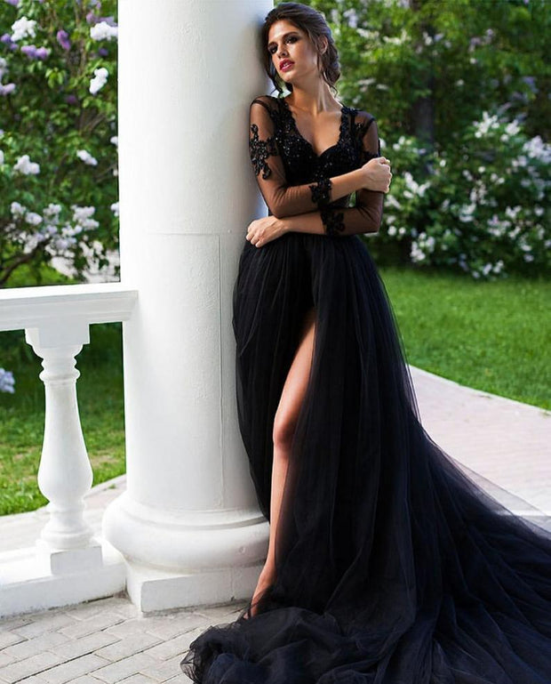 black-v-neckline-prom-dresses-beaded-illusion-tulle-with-long-train-3