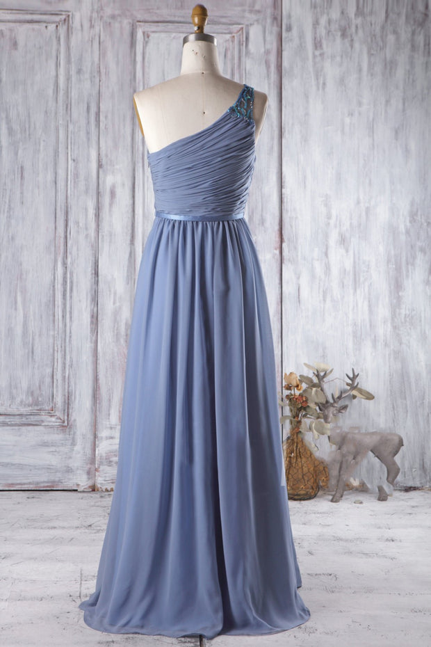 Blue Long Bridesmaid Wedding Party Dress with Beaded One-shoulder
