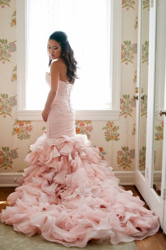 blush-pink-organza-mermaid-wedding-gown-ruffles-skirt-1