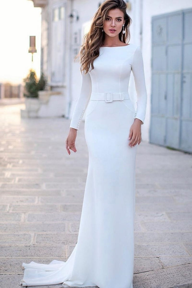 boat-neckline-simple-bride-dresses-with-long-sleeves