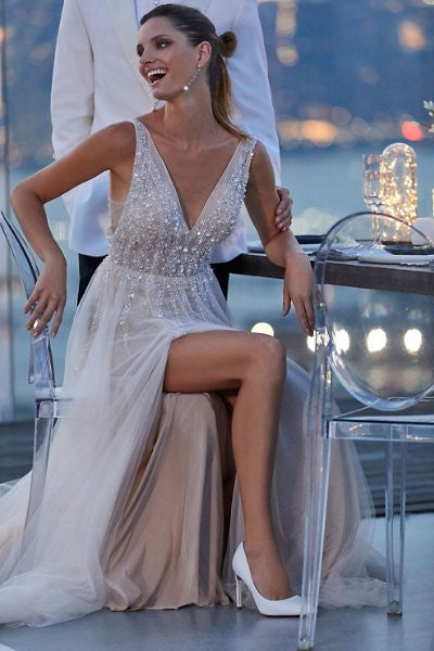 boho-tulle-crystals-wedding-gowns-with-side-slit