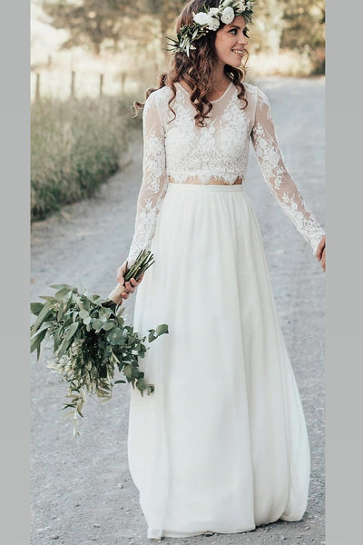 boho-two-piece-long-sleeve-wedding-dress-lace-top-chiffon-skirt