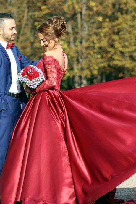 burgundy-prom-dresses-beaded-lace-sleeves-with-satin-skirt-1