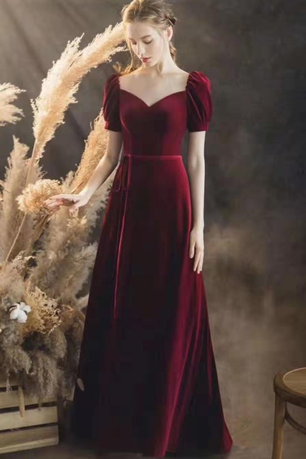 burgundy-velvet-long-prom-gowns-with-puffy-sleeves-1