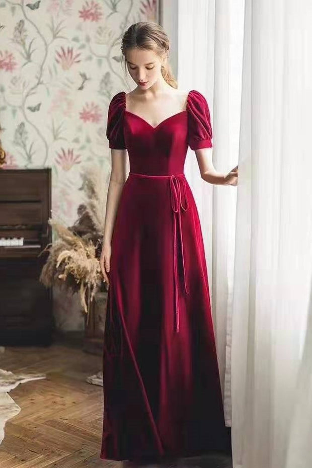burgundy-velvet-long-prom-gowns-with-puffy-sleeves