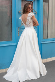capped-sleeves-satin-wedding-dress-with-floral-lace-bodice-1
