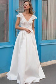 capped-sleeves-satin-wedding-dress-with-floral-lace-bodice
