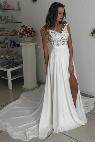 casual-summer-chiffon-wedding-gown-with-side-split
