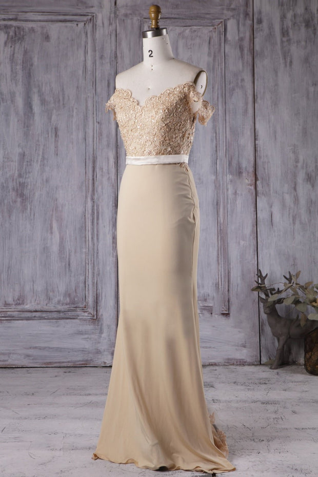 Champagne Long Bridesmaid Dresses with Beaded Lace Off-the-shoulder