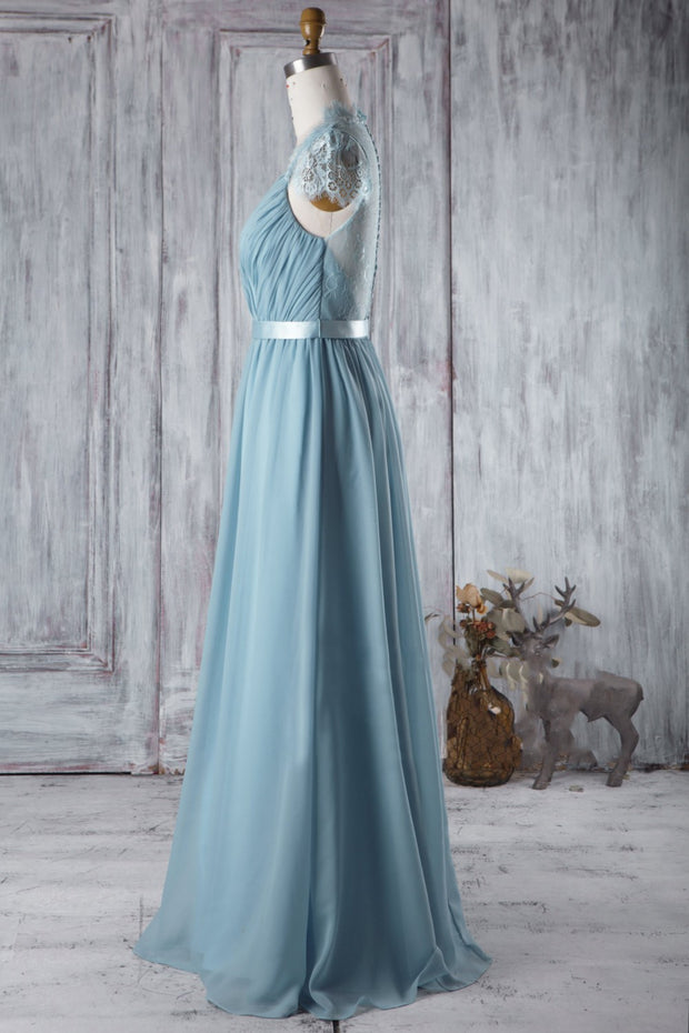 Chiffon Bluestone Bridesmaid Dress with Sheer Lace Capped Sleeves