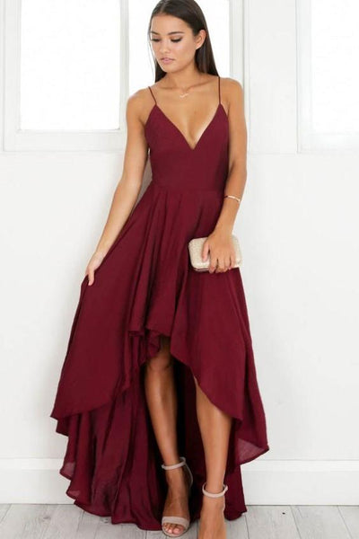 chiffon-burgundy-hi-lo-bridesmaid-dresses-with-deep-v-neckline