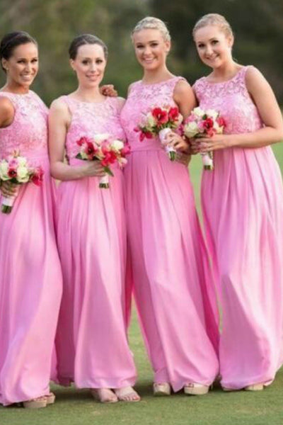 chiffon-long-pink-bridesmaid-dresses-with-lace-bodice