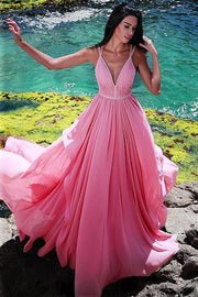 chiffon-long-pink-dresses-for-prom-party-gown-with-pleated-v-neckline-bodice