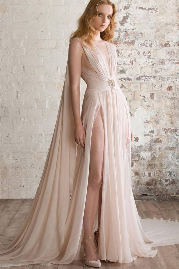 Chiffon Long Prom Dresses with High Thigh Splits