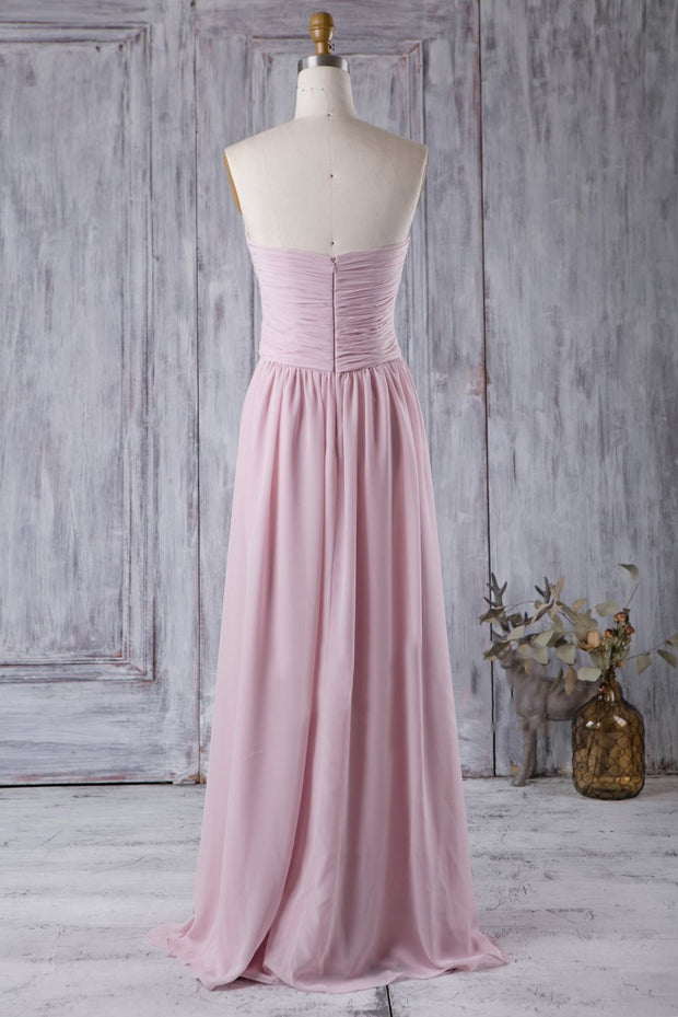 chiffon-pleated-strapless-pink-bridesmaids-dress-backless-1