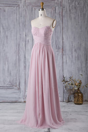 chiffon-pleated-strapless-pink-bridesmaids-dress-backless