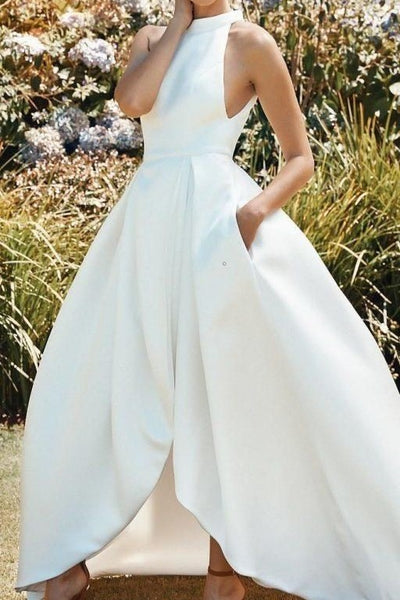 clean-satin-high-neck-bridal-dress-with-pockets