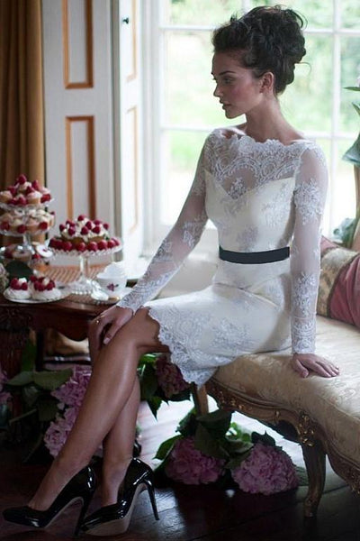 close-fitting-lace-short-wedding-dress-with-long-sleeves