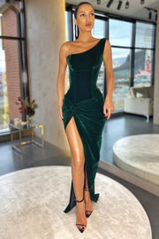 dark-green-velvet-single-shoulder-prom-dresses-with-ruching-high-thigh-slit-1